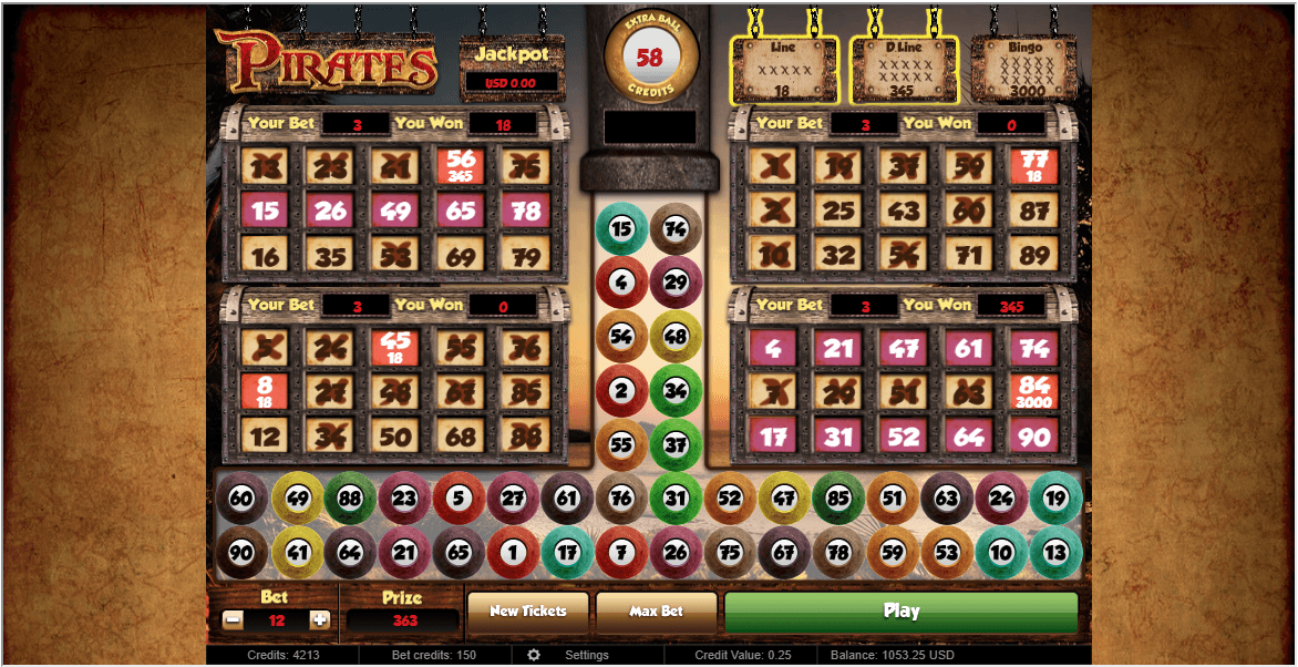 Pirates vídeo bingo 176042