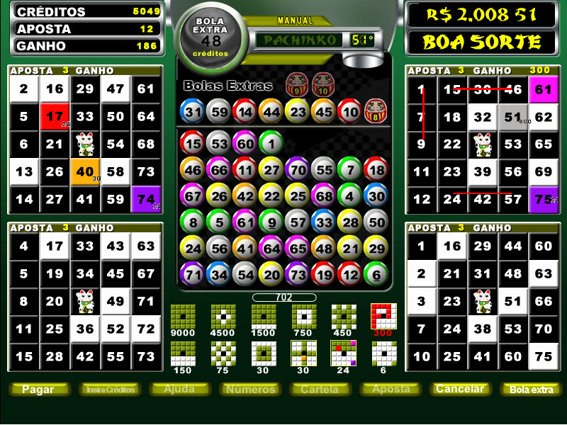 Pachinko vídeo bingo roleta 114312